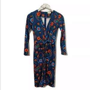 ISSA London Blue Floral Long Sleeve Dress US2/UK6
